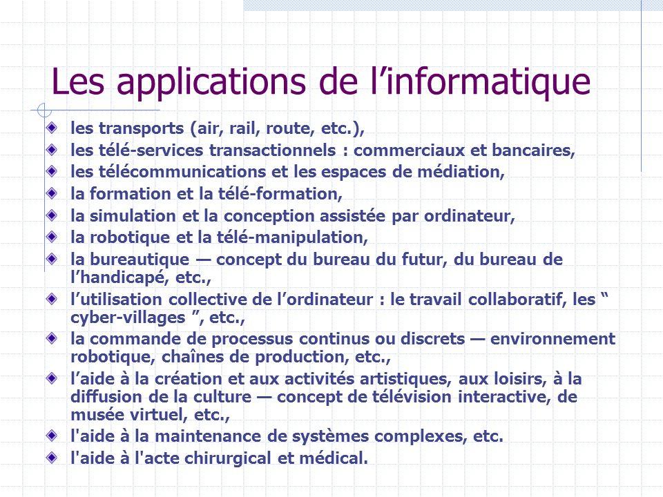 Les applications de linformatique les transports (air, rail, route, etc.), les télé-services transactionnels : commerciaux et bancaires, les télécommu