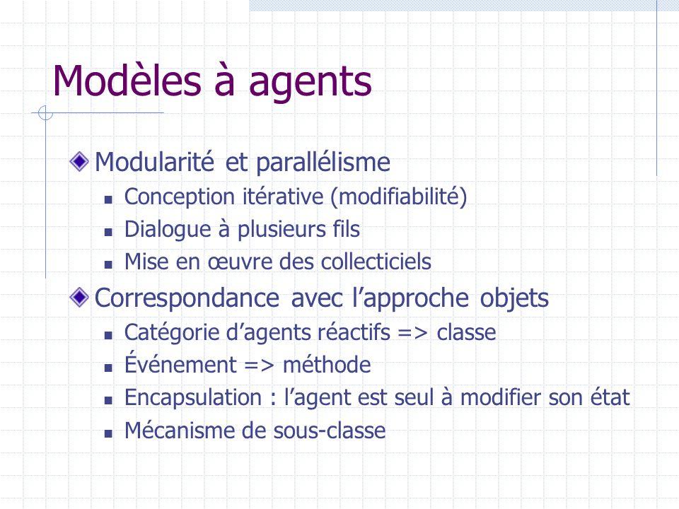 Modèles à agents Modularité et parallélisme Conception itérative (modifiabilité) Dialogue à plusieurs fils Mise en œuvre des collecticiels Corresponda
