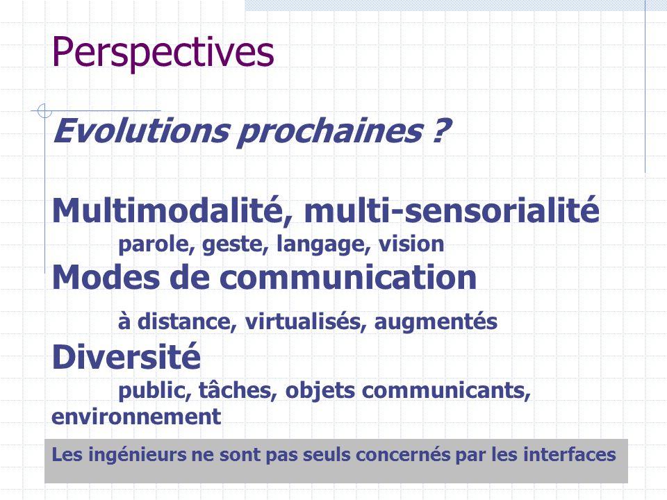 Perspectives Evolutions prochaines ? Multimodalité, multi-sensorialité parole, geste, langage, vision Modes de communication à distance, virtualisés,