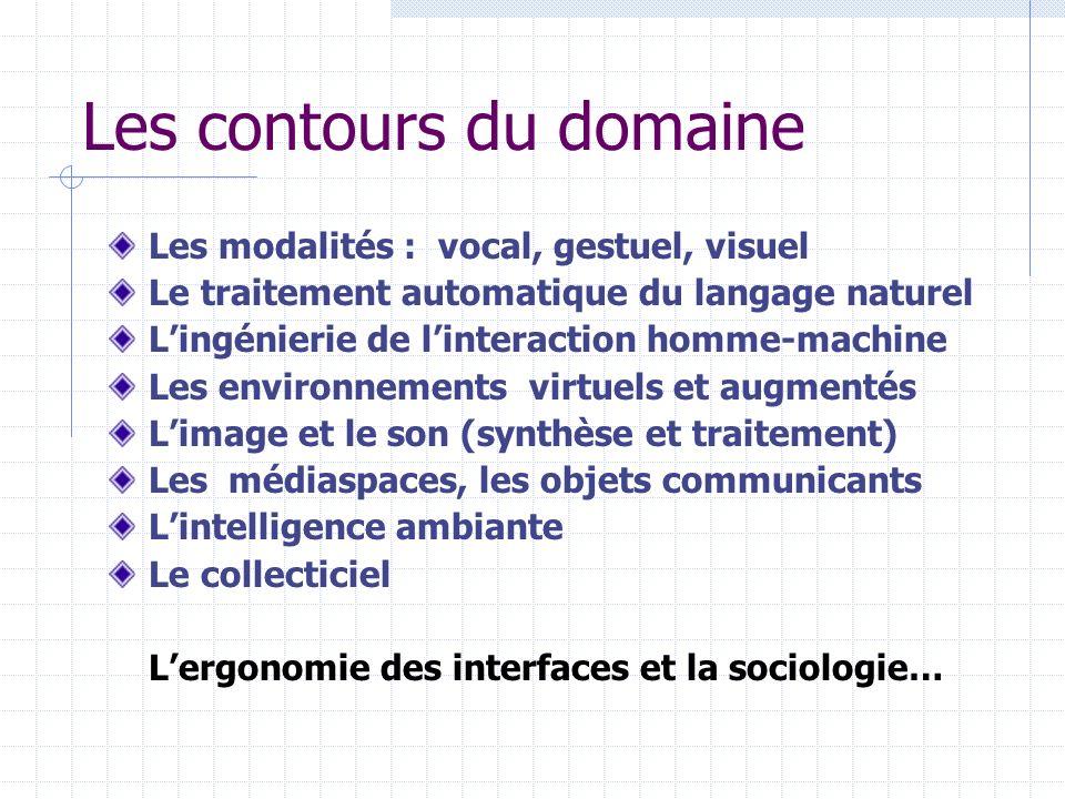 Les contours du domaine Les modalités : vocal, gestuel, visuel Le traitement automatique du langage naturel Lingénierie de linteraction homme-machine