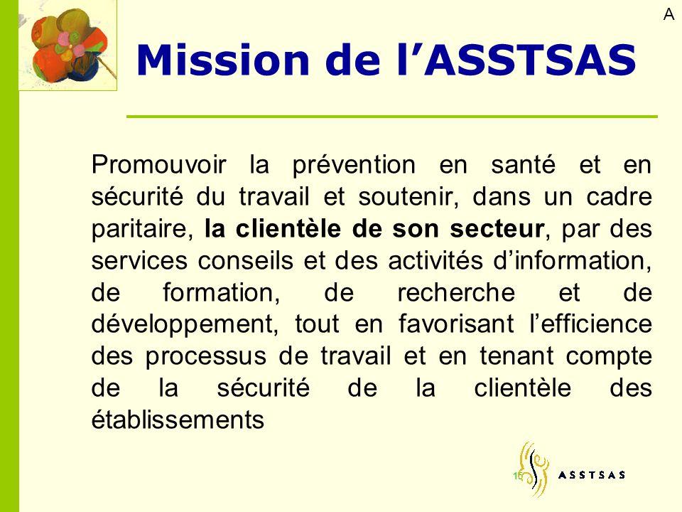 Promouvoir la prévention en santé et en sécurité du travail et soutenir, dans un cadre paritaire, la clientèle de son secteur, par des services consei