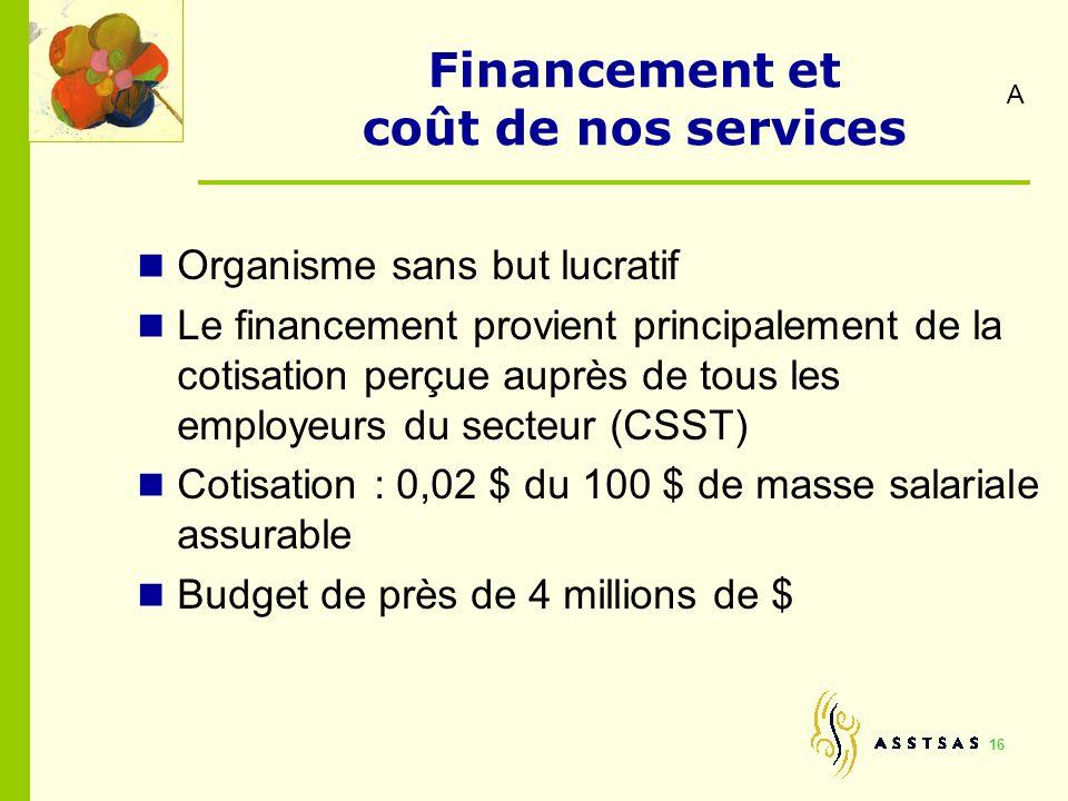 16 Financement et coût de nos services Organisme sans but lucratif Le financement provient principalement de la cotisation perçue auprès de tous les e
