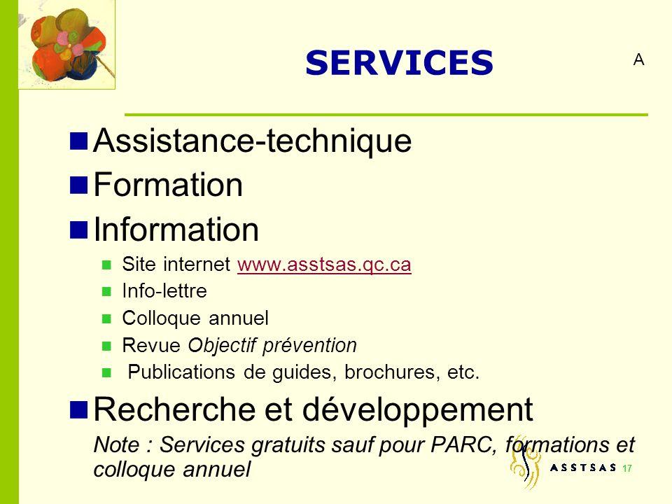 17 SERVICES Assistance-technique Formation Information Site internet www.asstsas.qc.cawww.asstsas.qc.ca Info-lettre Colloque annuel Revue Objectif pré