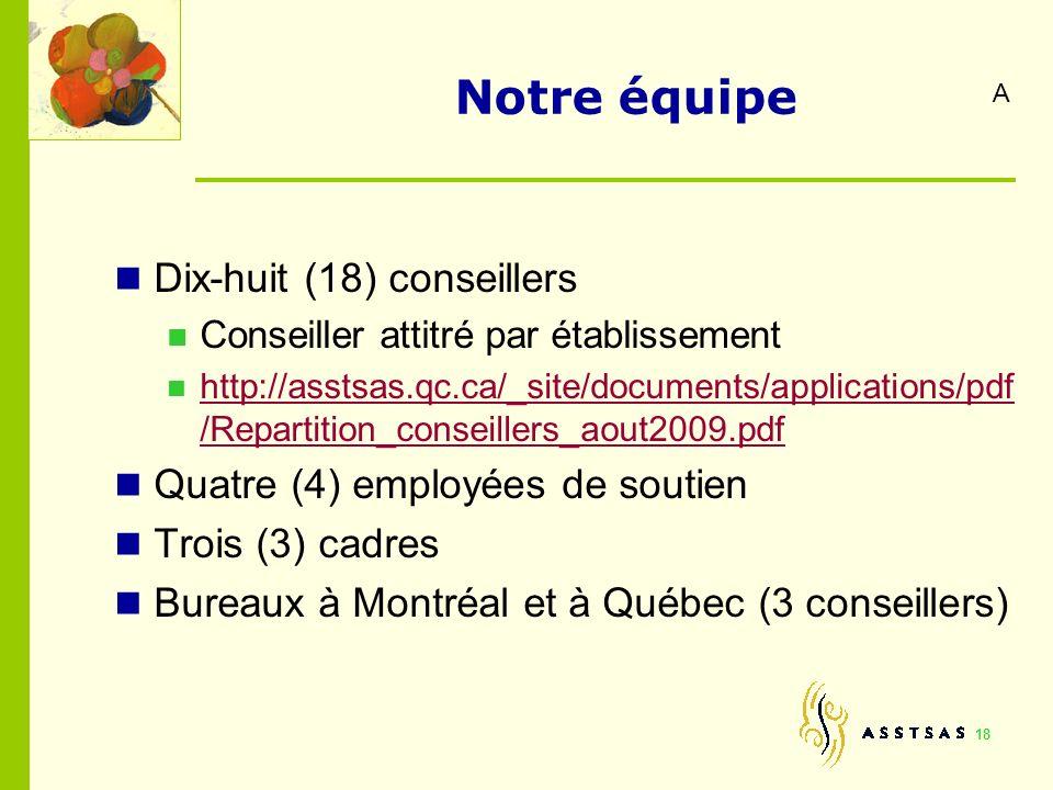 18 Notre équipe Dix-huit (18) conseillers Conseiller attitré par établissement http://asstsas.qc.ca/_site/documents/applications/pdf /Repartition_cons
