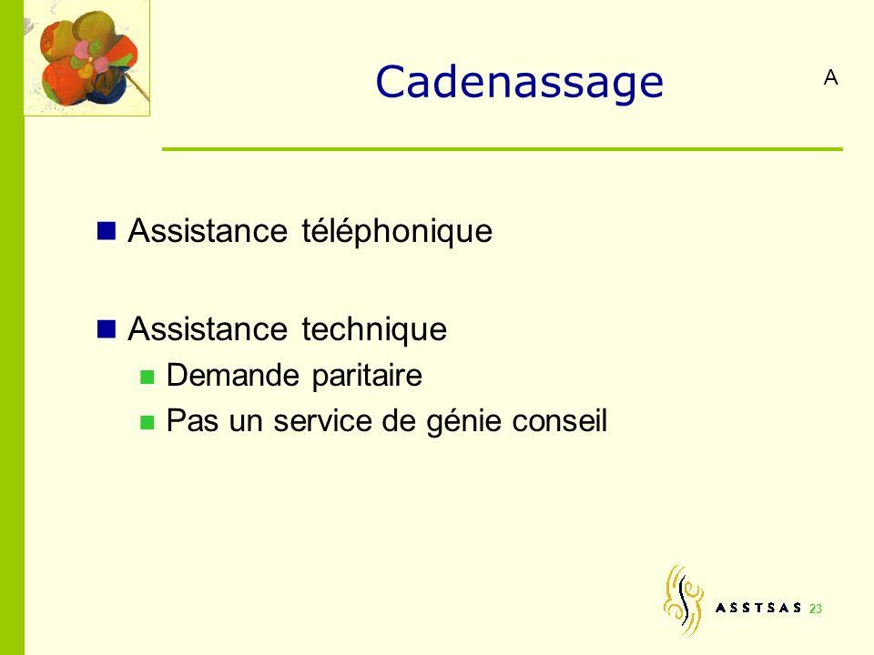 Cadenassage Assistance téléphonique Assistance technique Demande paritaire Pas un service de génie conseil 23 A