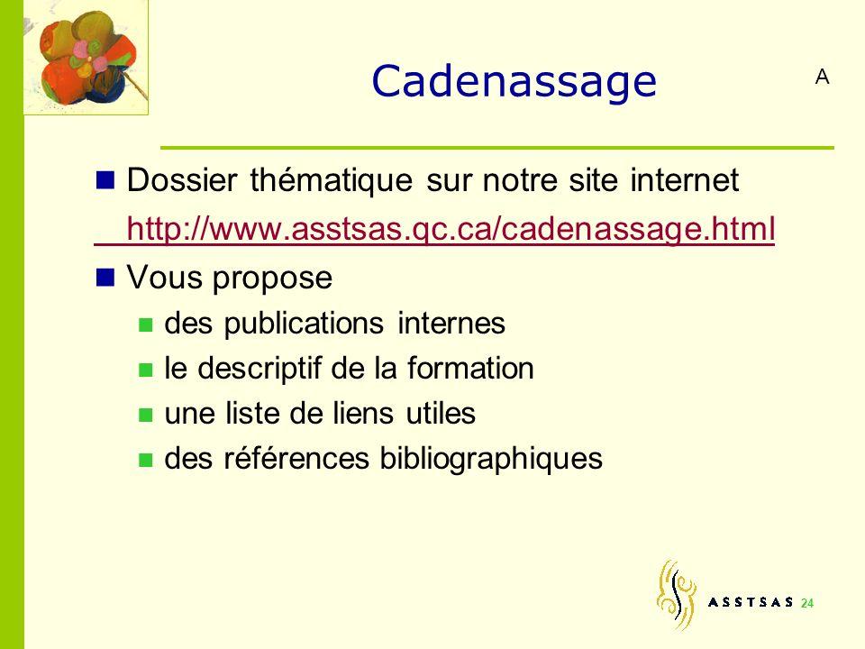 Cadenassage Dossier thématique sur notre site internet http://www.asstsas.qc.ca/cadenassage.html Vous propose des publications internes le descriptif
