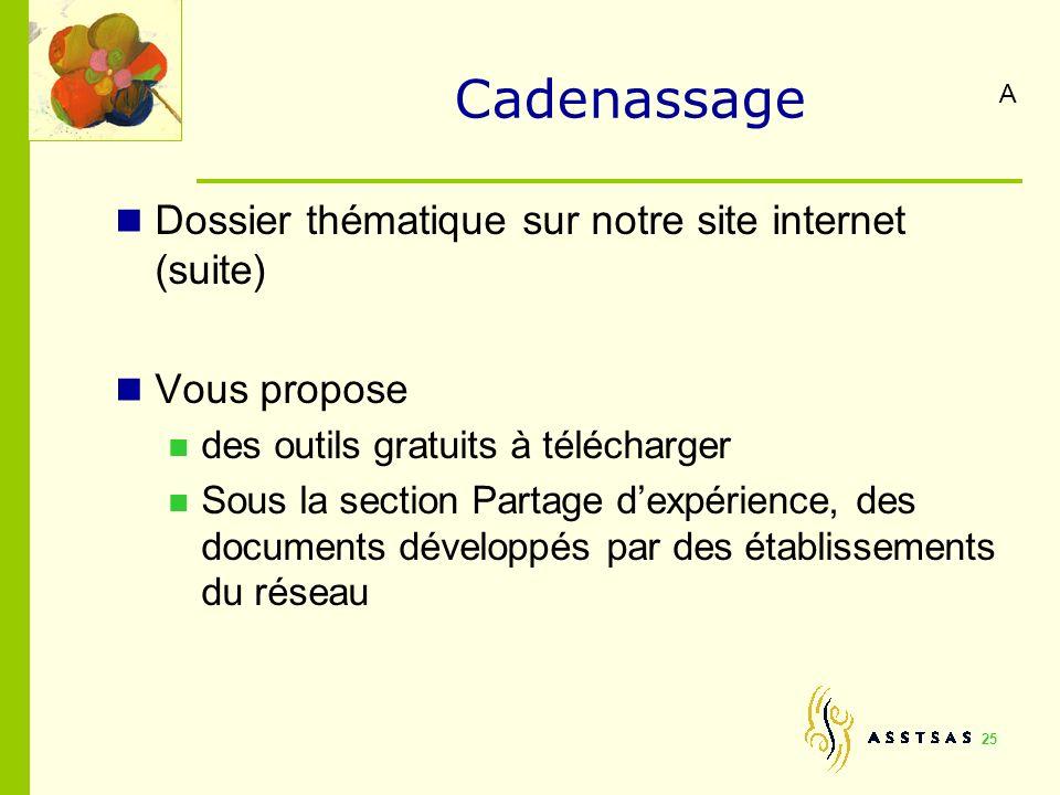 Cadenassage Dossier thématique sur notre site internet (suite) Vous propose des outils gratuits à télécharger Sous la section Partage dexpérience, des