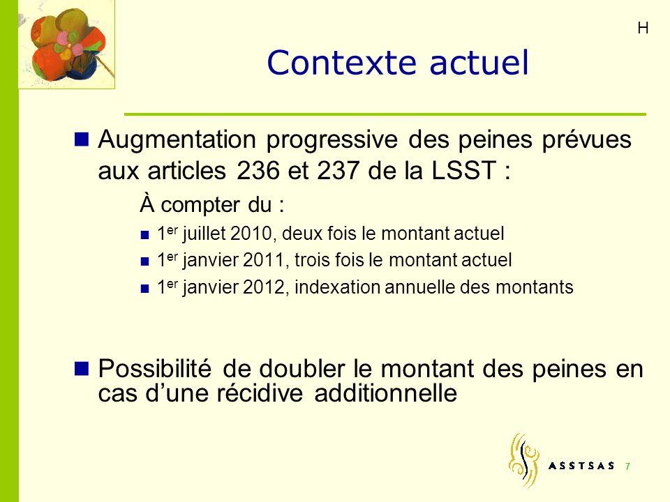 Contexte actuel Augmentation progressive des peines prévues aux articles 236 et 237 de la LSST : À compter du : 1 er juillet 2010, deux fois le montan