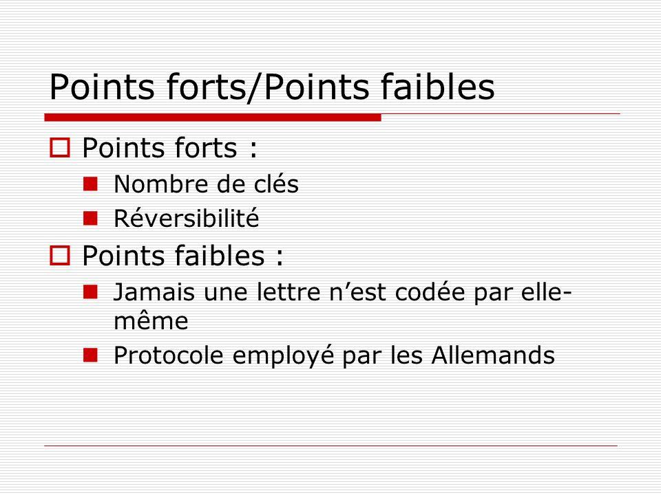Points forts/Points faibles Points forts : Nombre de clés Réversibilité Points faibles : Jamais une lettre nest codée par elle- même Protocole employé