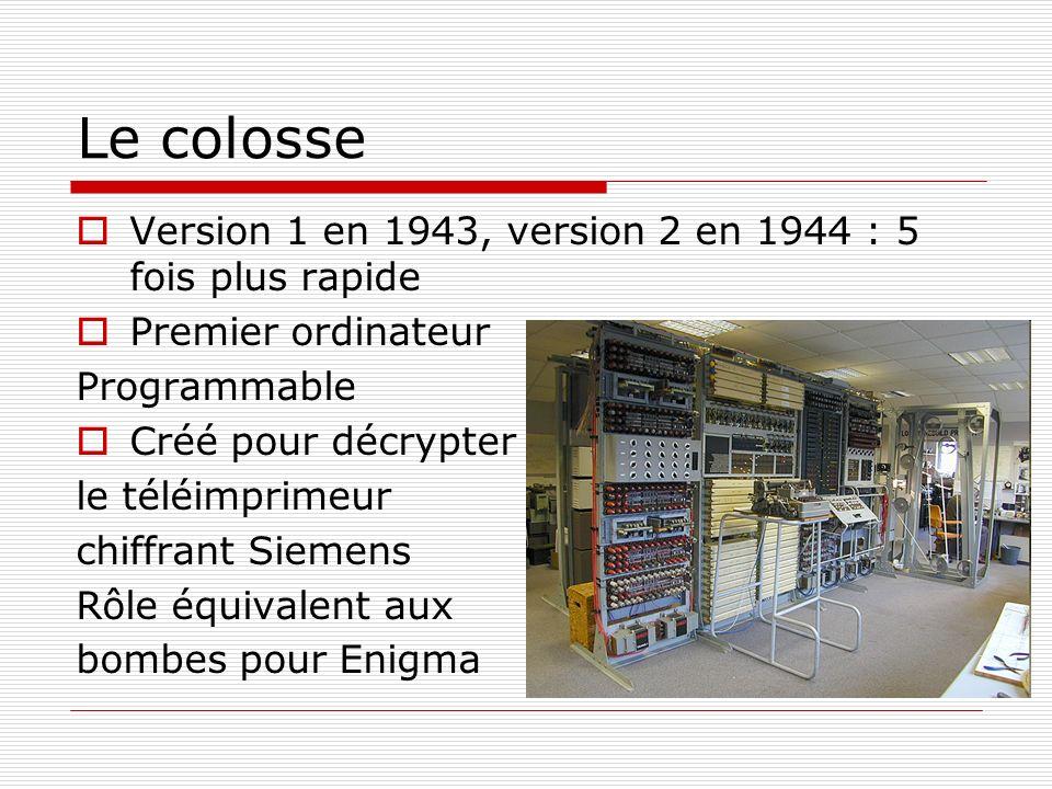 Le colosse Version 1 en 1943, version 2 en 1944 : 5 fois plus rapide Premier ordinateur Programmable Créé pour décrypter le téléimprimeur chiffrant Si