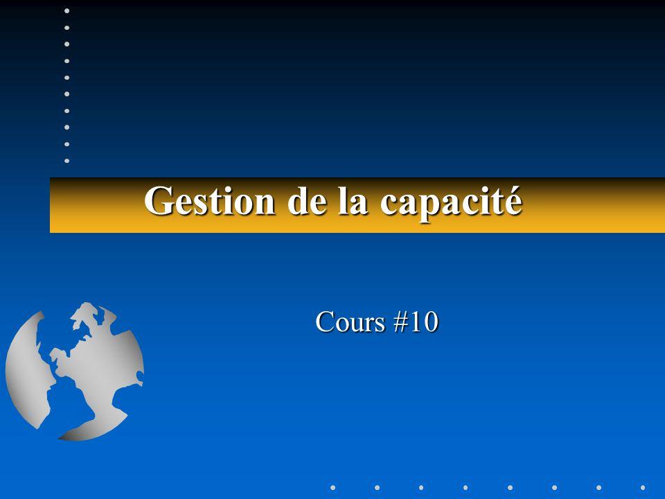 Gestion de la capacité Cours #10