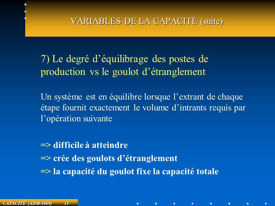 CAPACITÉ (ADM-1069) 13 7) Le degré déquilibrage des postes de production vs le goulot détranglement Un système est en équilibre lorsque lextrant de ch