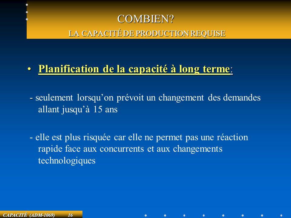 CAPACITÉ (ADM-1069) 16 COMBIEN? LA CAPACITÉ DE PRODUCTION REQUISE Planification de la capacité à long terme:Planification de la capacité à long terme: