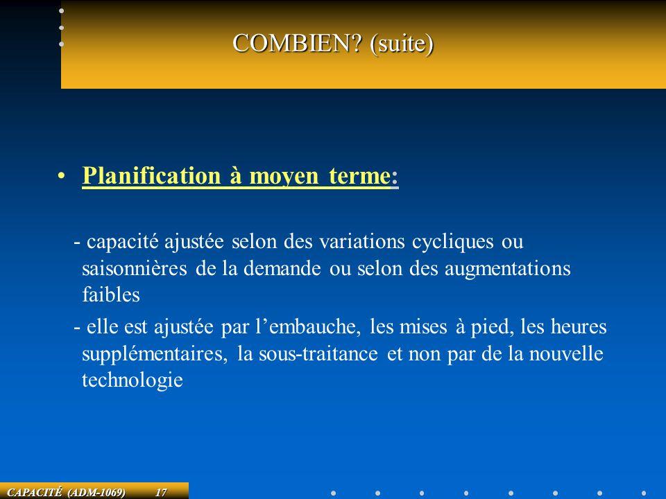 CAPACITÉ (ADM-1069) 17 COMBIEN? (suite) Planification à moyen terme: - capacité ajustée selon des variations cycliques ou saisonnières de la demande o
