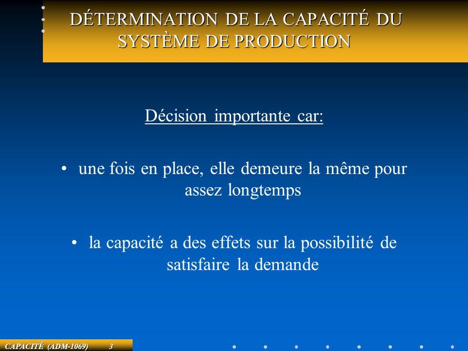 CAPACITÉ (ADM-1069) 3 DÉTERMINATION DE LA CAPACITÉ DU SYSTÈME DE PRODUCTION DÉTERMINATION DE LA CAPACITÉ DU SYSTÈME DE PRODUCTION Décision importante