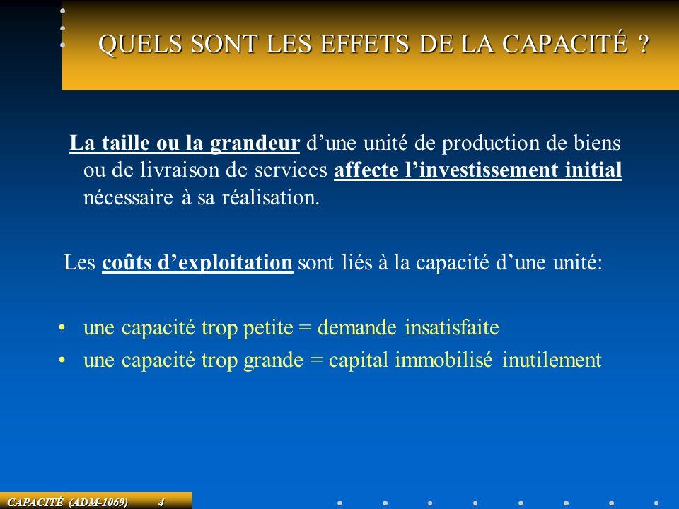 CAPACITÉ (ADM-1069) 4 QUELS SONT LES EFFETS DE LA CAPACITÉ ? La taille ou la grandeur dune unité de production de biens ou de livraison de services af