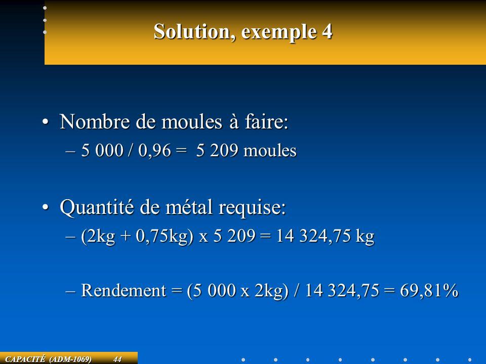CAPACITÉ (ADM-1069) 44 Solution, exemple 4 Nombre de moules à faire:Nombre de moules à faire: –5 000 / 0,96 = 5 209 moules Quantité de métal requise:Q