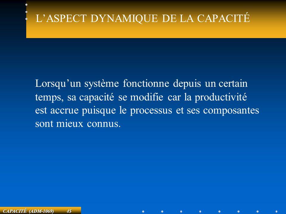 CAPACITÉ (ADM-1069) 45 LASPECT DYNAMIQUE DE LA CAPACITÉ Lorsquun système fonctionne depuis un certain temps, sa capacité se modifie car la productivit