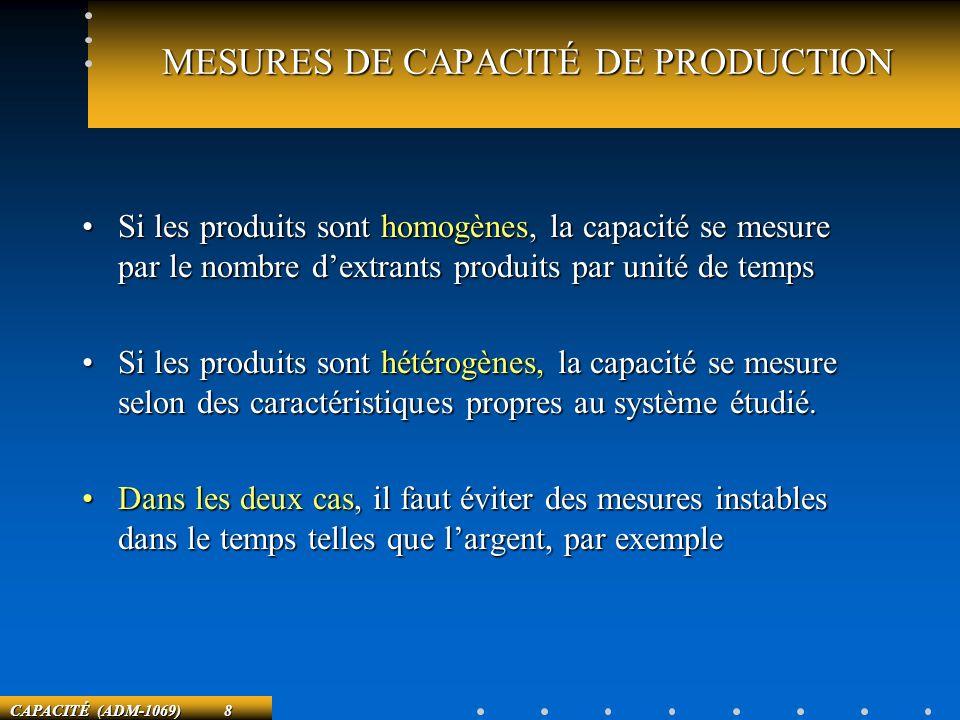 CAPACITÉ (ADM-1069) 8 MESURES DE CAPACITÉ DE PRODUCTION Si les produits sont homogènes, la capacité se mesure par le nombre dextrants produits par uni