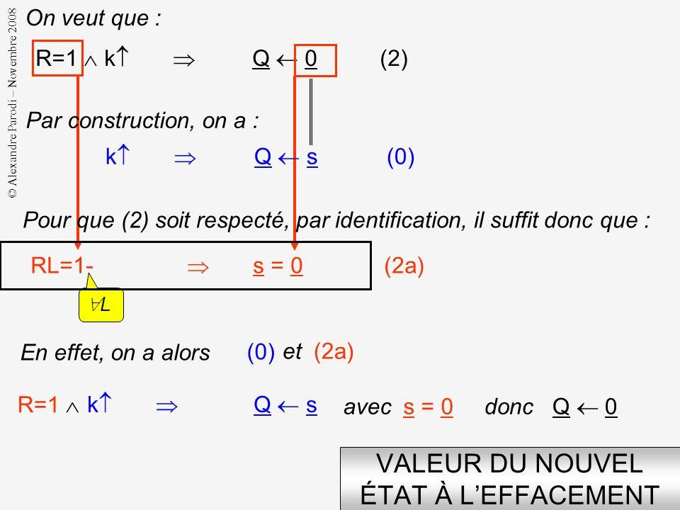 © Alexandre Parodi – Novembre 2008 VALEUR DU NOUVEL ÉTAT AU CHARGEMENT R=0 L=1 k Q D (1) k Q s (0) RL = 01 s = D (1a) On veut que: Par construction, o