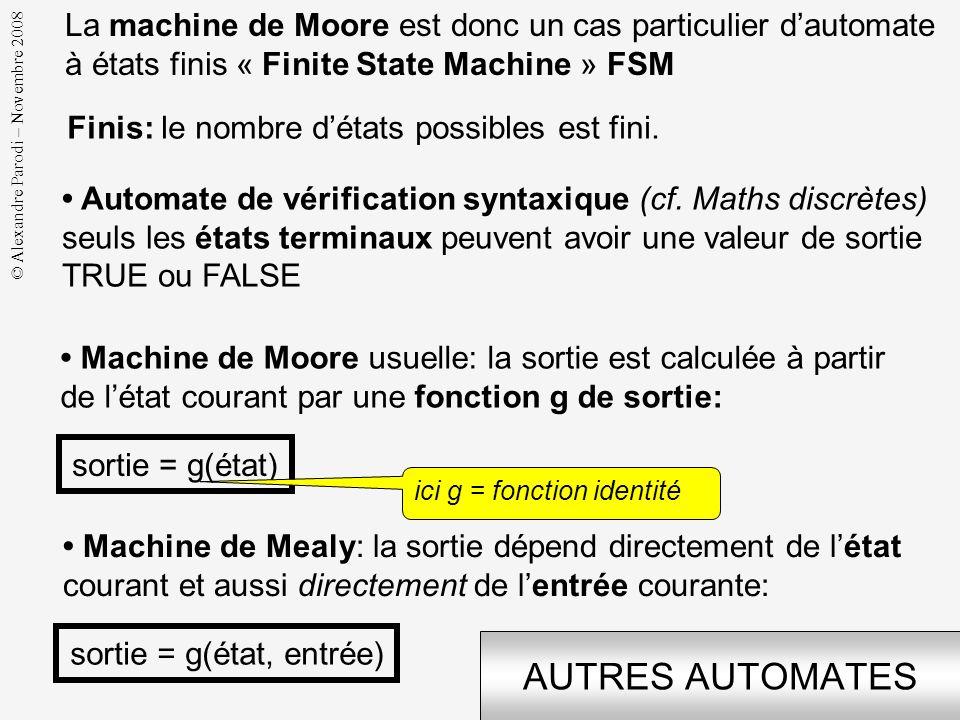 © Alexandre Parodi – Novembre 2008 DÉFINITION La machine de Moore est un opérateur séquentiel synchrone Séquentiel: sa sortie courante dépend de lhist
