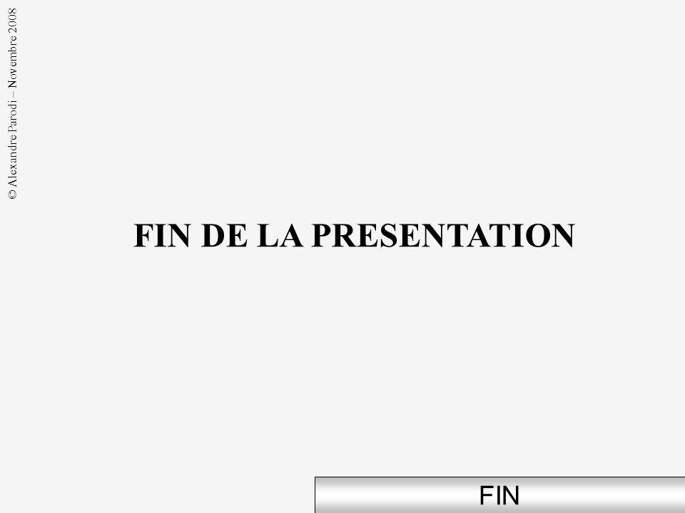 © Alexandre Parodi – Novembre 2008 FIN FIN DE LA PRESENTATION
