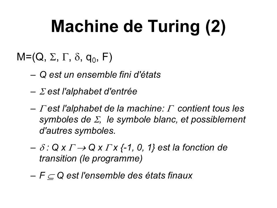 Machine de Turing (2) M=(Q,,,, q 0, F) –Q est un ensemble fini d'états – est l'alphabet d'entrée – est l'alphabet de la machine: contient tous les sym