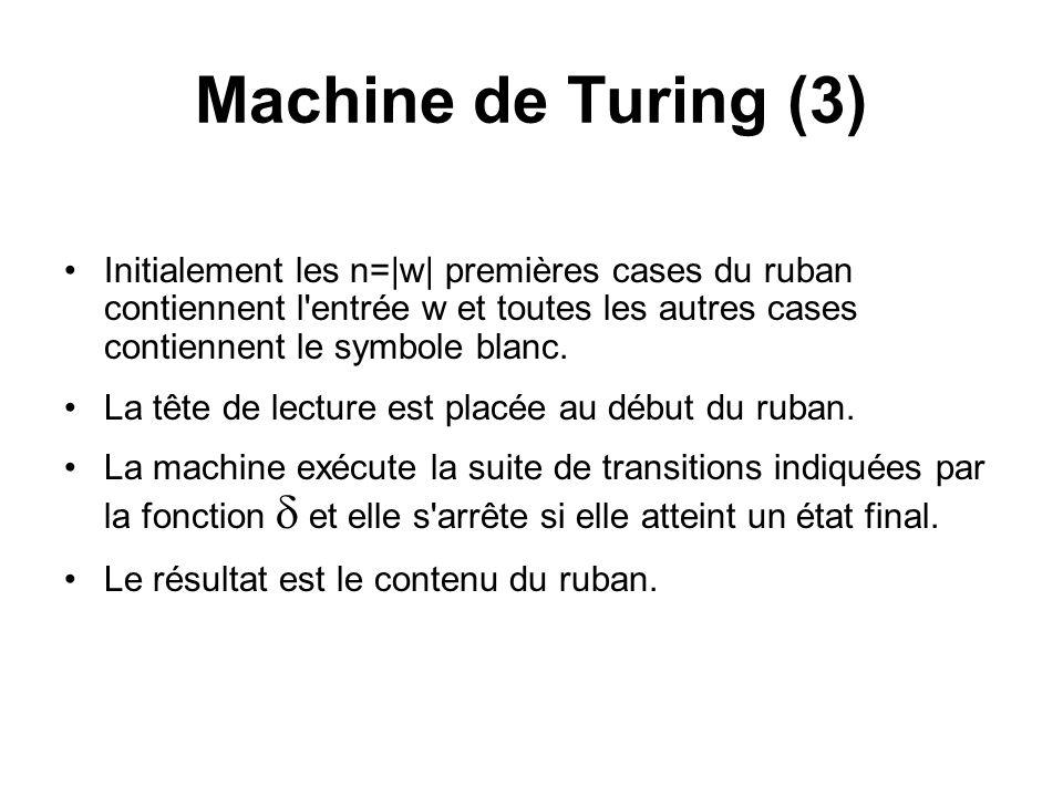 Machine de Turing (3) Initialement les n=|w| premières cases du ruban contiennent l'entrée w et toutes les autres cases contiennent le symbole blanc.