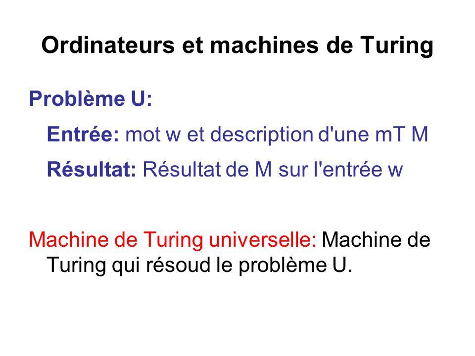 Ordinateurs et machines de Turing Problème U: Entrée: mot w et description d'une mT M Résultat: Résultat de M sur l'entrée w Machine de Turing univers
