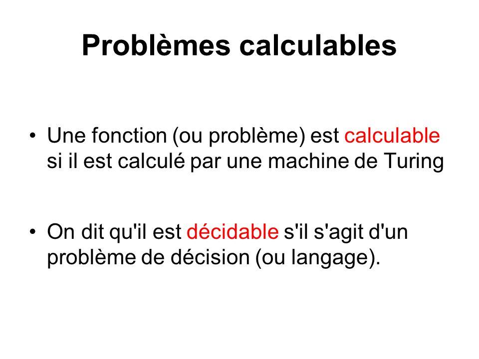 Problèmes calculables Une fonction (ou problème) est calculable si il est calculé par une machine de Turing On dit qu'il est décidable s'il s'agit d'u