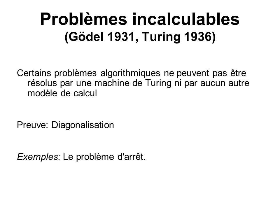 Problèmes incalculables (Gödel 1931, Turing 1936) Certains problèmes algorithmiques ne peuvent pas être résolus par une machine de Turing ni par aucun