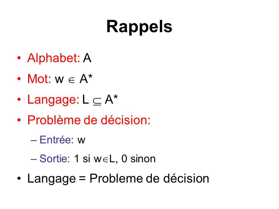 Rappels Alphabet: A Mot: w A* Langage: L A* Problème de décision: –Entrée: w –Sortie: 1 si w L, 0 sinon Langage = Probleme de décision