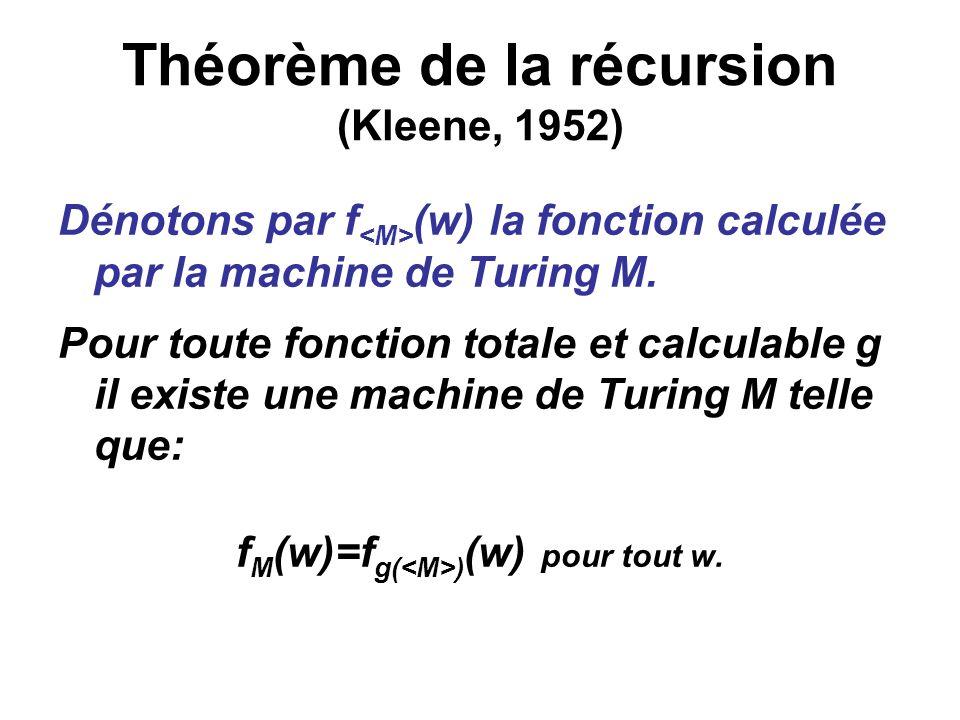 Théorème de la récursion (Kleene, 1952) Dénotons par f (w) la fonction calculée par la machine de Turing M. Pour toute fonction totale et calculable g