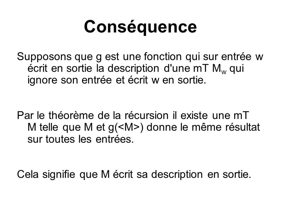 Conséquence Supposons que g est une fonction qui sur entrée w écrit en sortie la description d'une mT M w qui ignore son entrée et écrit w en sortie.