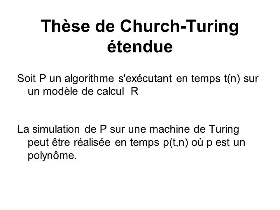 Thèse de Church-Turing étendue Soit P un algorithme s'exécutant en temps t(n) sur un modèle de calcul R La simulation de P sur une machine de Turing p