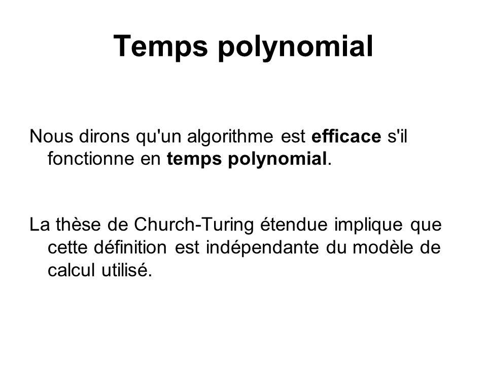 Temps polynomial Nous dirons qu'un algorithme est efficace s'il fonctionne en temps polynomial. La thèse de Church-Turing étendue implique que cette d