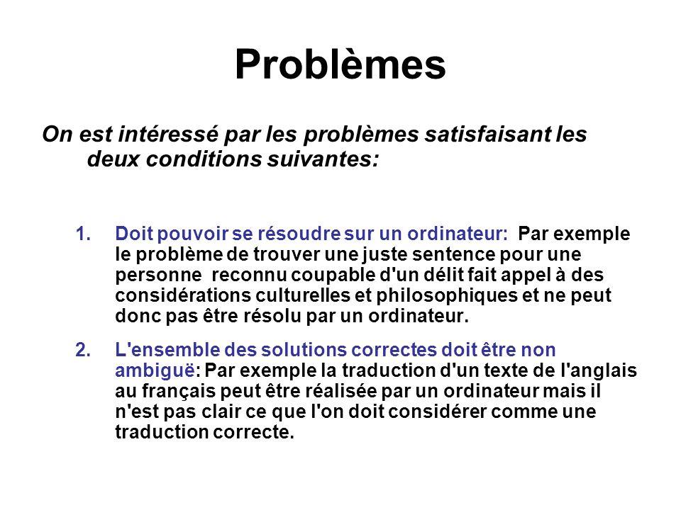 Problèmes On est intéressé par les problèmes satisfaisant les deux conditions suivantes: 1.Doit pouvoir se résoudre sur un ordinateur:Par exemple le p