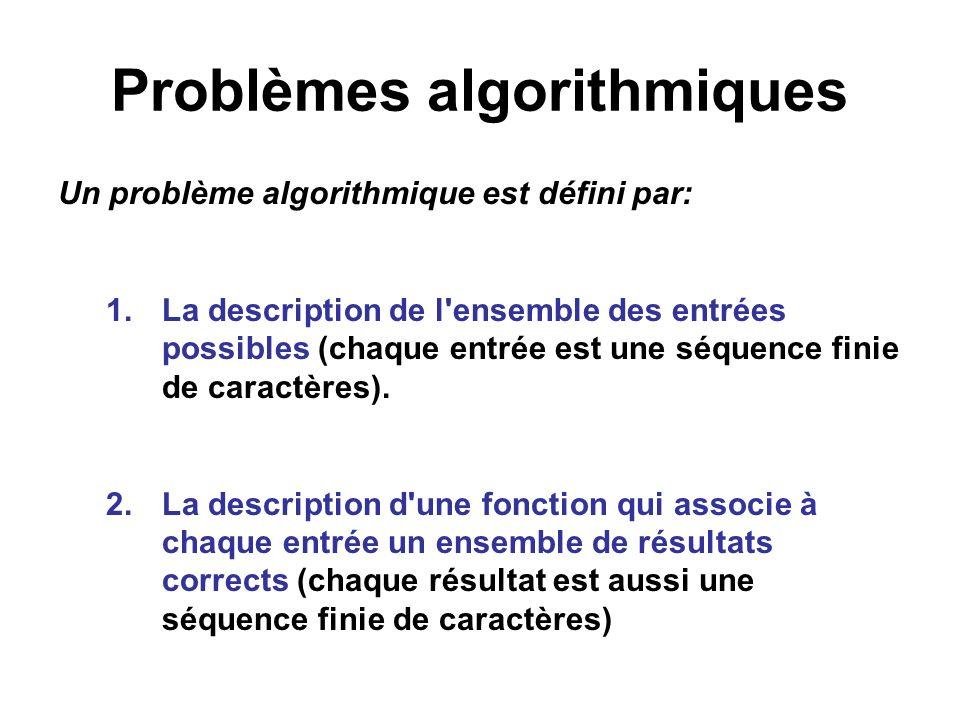 Problèmes algorithmiques Un problème algorithmique est défini par: 1.La description de l'ensemble des entrées possibles (chaque entrée est une séquenc