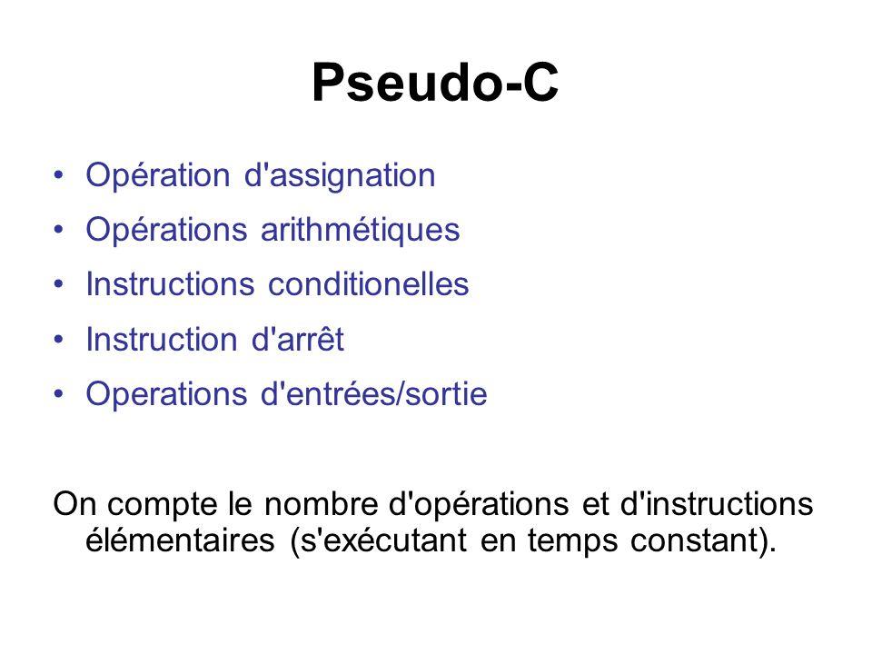 Pseudo-C Opération d'assignation Opérations arithmétiques Instructions conditionelles Instruction d'arrêt Operations d'entrées/sortie On compte le nom