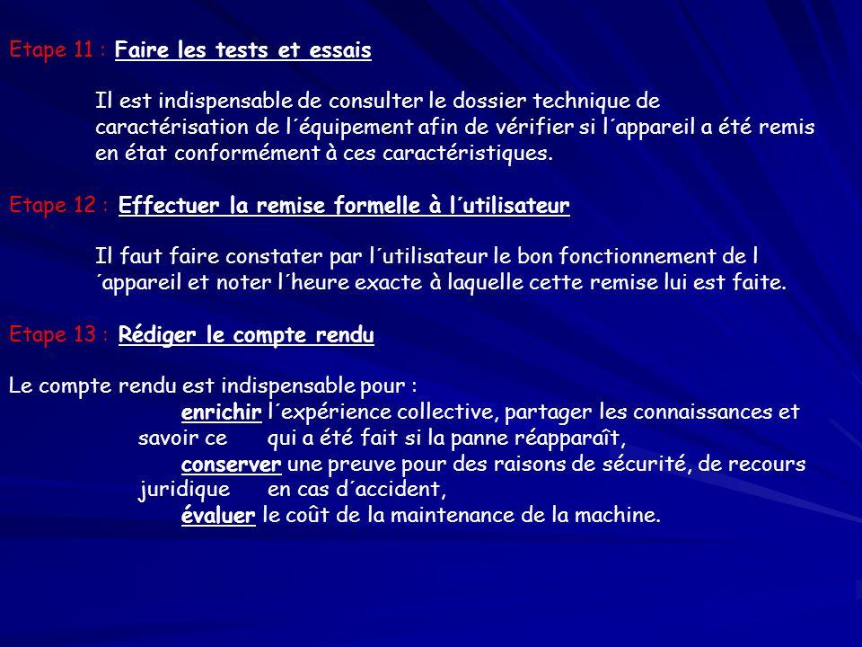 Etape 11 : Faire les tests et essais Il est indispensable de consulter le dossier technique de caractérisation de l´équipement afin de vérifier si l´a