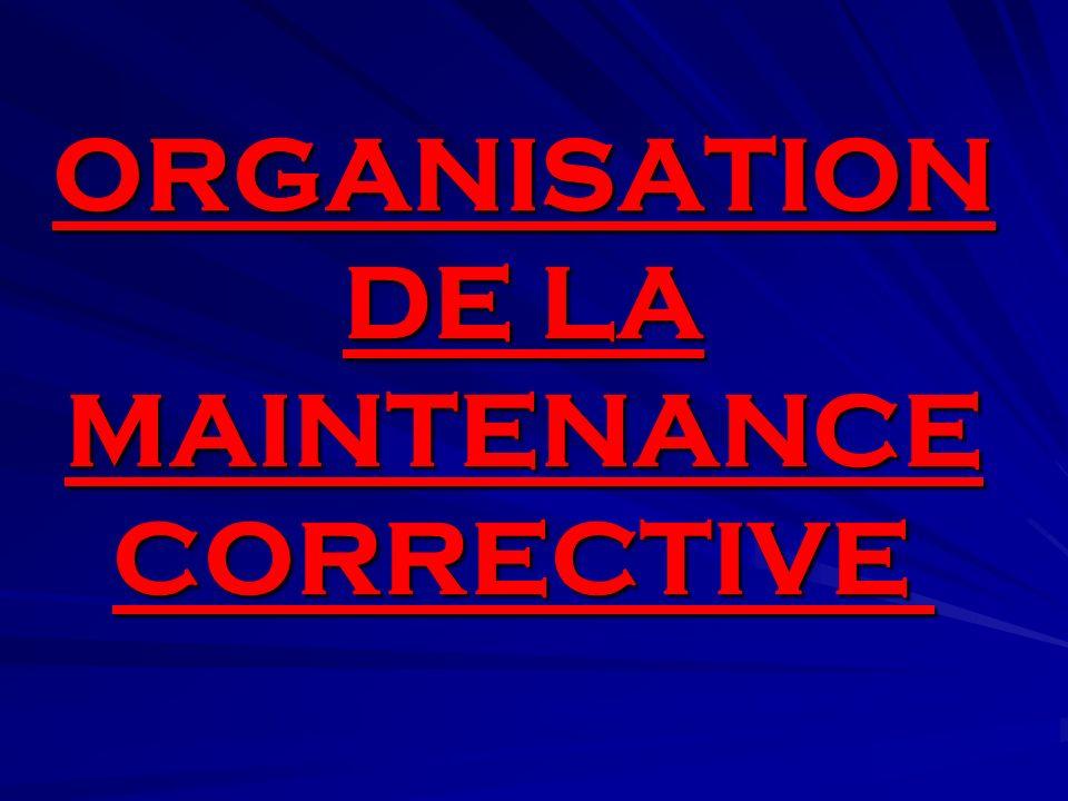 ORGANISATION DE LA MAINTENANCE CORRECTIVE ORGANISATION DE LA MAINTENANCE CORRECTIVE
