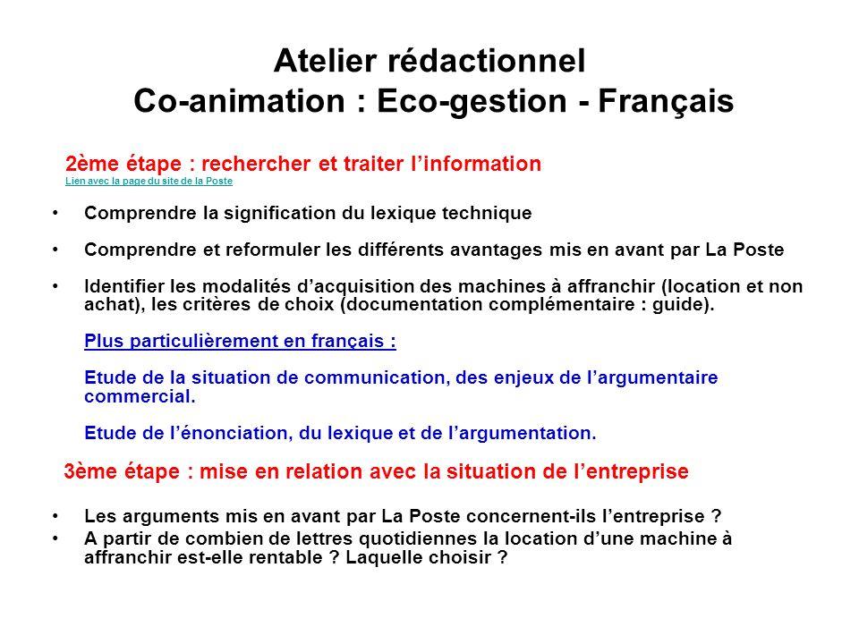Atelier rédactionnel Co-animation : Eco-gestion - Français 4 ème étape : choisir la forme de lécrit de restitution Consigne volontairement imprécise : « rendez-compte par écrit de votre recherche à Mme Darnoux ».