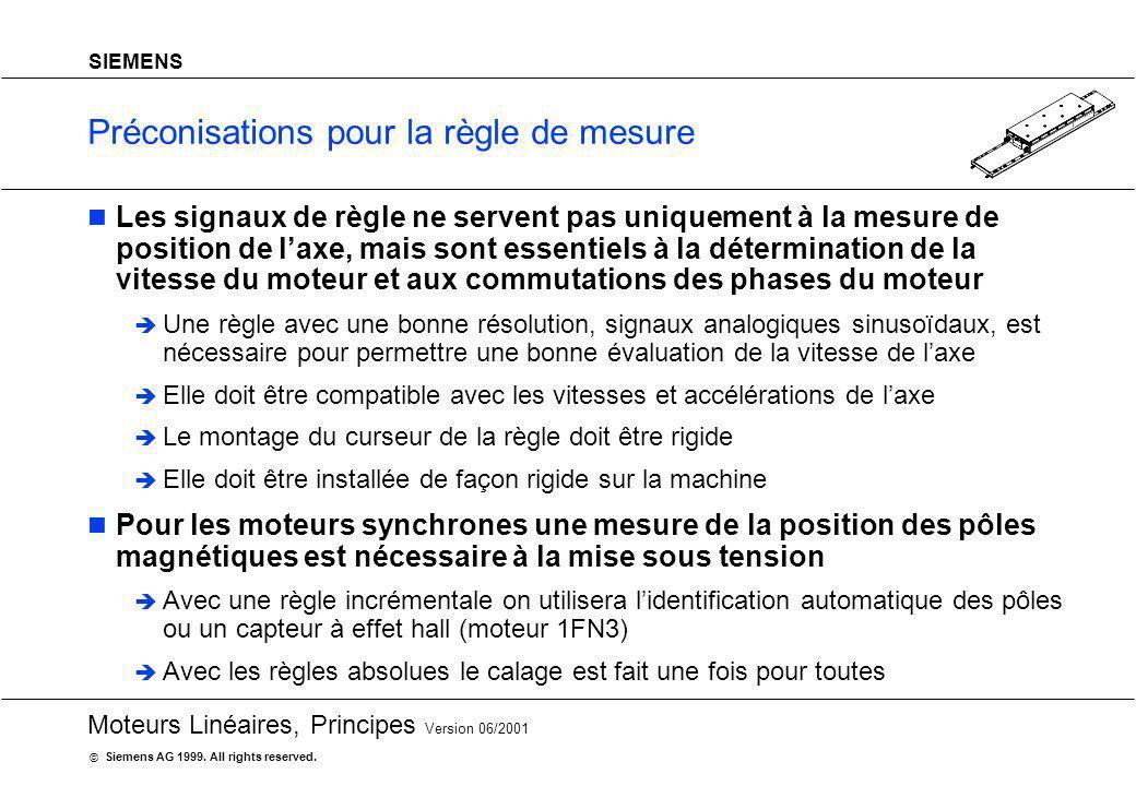 20 Moteurs Linéaires, Principes Version 06/2001 Siemens AG 1999. All rights reserved. © SIEMENS Préconisations pour la règle de mesure Les signaux de