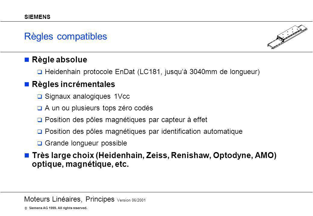20 Moteurs Linéaires, Principes Version 06/2001 Siemens AG 1999. All rights reserved. © SIEMENS Règles compatibles Règle absolue Heidenhain protocole