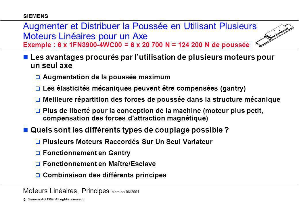 20 Moteurs Linéaires, Principes Version 06/2001 Siemens AG 1999. All rights reserved. © SIEMENS Augmenter et Distribuer la Poussée en Utilisant Plusie