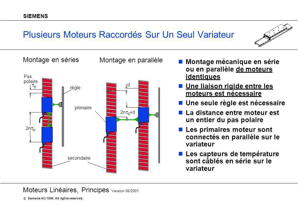 20 Moteurs Linéaires, Principes Version 06/2001 Siemens AG 1999. All rights reserved. © SIEMENS Plusieurs Moteurs Raccordés Sur Un Seul Variateur Mont