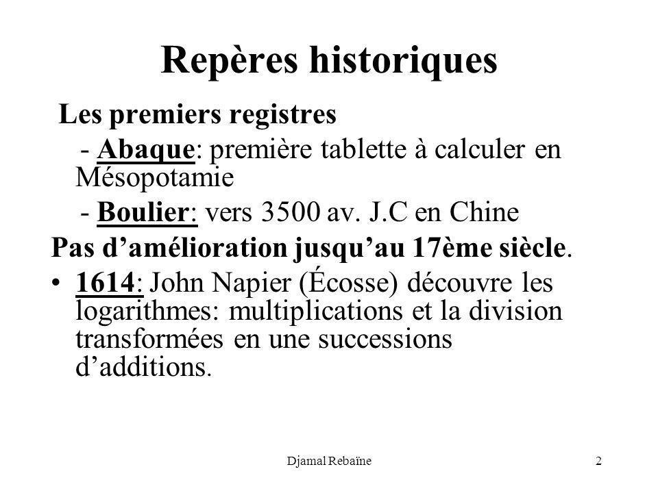 Djamal Rebaïne2 Repères historiques Les premiers registres - Abaque: première tablette à calculer en Mésopotamie - Boulier: vers 3500 av. J.C en Chine