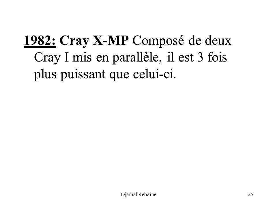 Djamal Rebaïne25 1982: Cray X-MP Composé de deux Cray I mis en parallèle, il est 3 fois plus puissant que celui-ci.