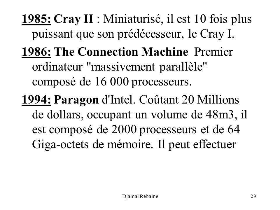 Djamal Rebaïne29 1985: Cray II : Miniaturisé, il est 10 fois plus puissant que son prédécesseur, le Cray I. 1986: The Connection Machine Premier ordin