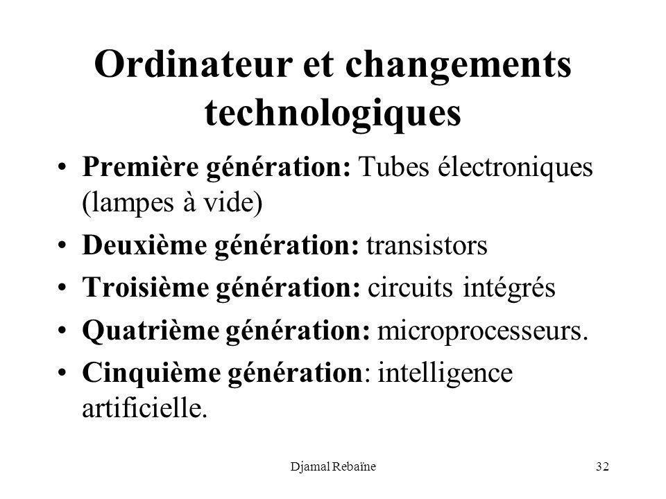 Djamal Rebaïne32 Ordinateur et changements technologiques Première génération: Tubes électroniques (lampes à vide) Deuxième génération: transistors Tr